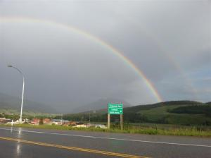...and here is the second picture with the other end of the rainbow landing in the trees on this side of the hill too