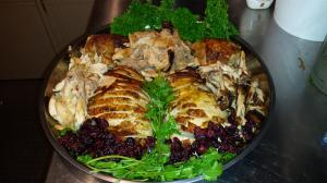 Turkey #6 AD (After Display) - carved and displayed with fresh dill and cilantro and dried cranberries for color.