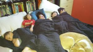 five people and a dog... thank God for King size beds