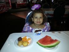 Princess Cydnee (as Rapunzel), enjoying a snack with dad